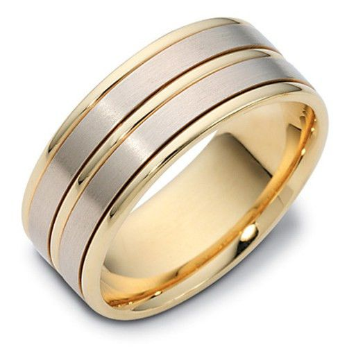 Mens Two Tone 9ct or 18ct Gold Wedding Ring - KW1153