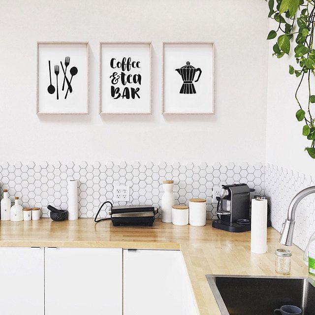 Minimalist Printable Kitchen Art Set By Summer Sun Home Art Wall Decor Wall Art Gallery Wal Kitchen Wall Art Printables Kitchen Art Set Tumblr Room Decor
