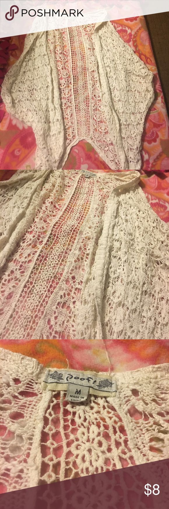 Cardigan hole in back can't really tell. Very beautiful short sleeve cardigan. Bought from Charlotte Russe ❤️ FREE MAKE UP OR MAKE UP BAG OR COUPON WITH PURCHASE ❤️ -just add to bundle Charlotte Russe Sweaters Cardigans