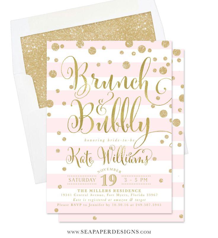 80 best bridal shower invitations images on pinterest for Champagne brunch bridal shower