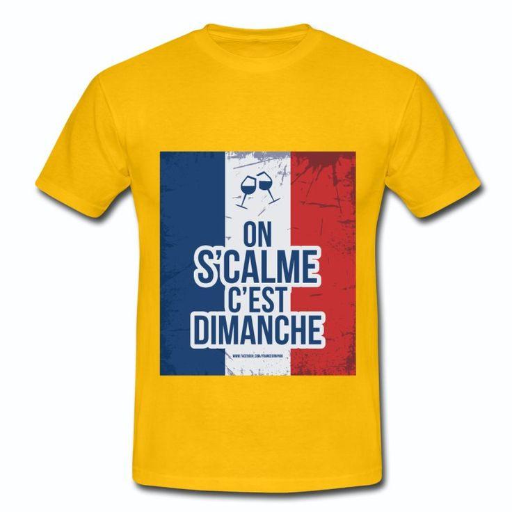 Tee Shirt Jaune France bleu blanc rouge: Dimanche & apéro sur drapeau Français