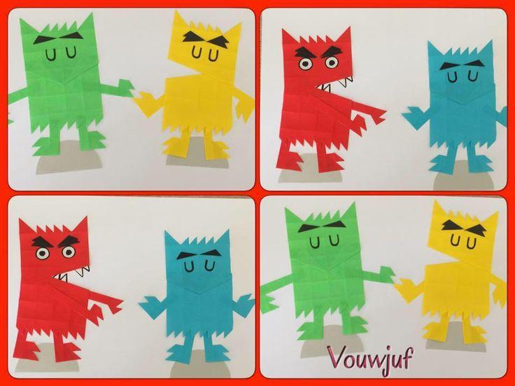 Vouwjuf. Gruwelijk eng... monsters... Kleurenmonster. Hier gevouwen van twee keer 16 vierkantjes.