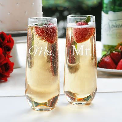 Mr and Mrs. Stemless Champagne Flutes