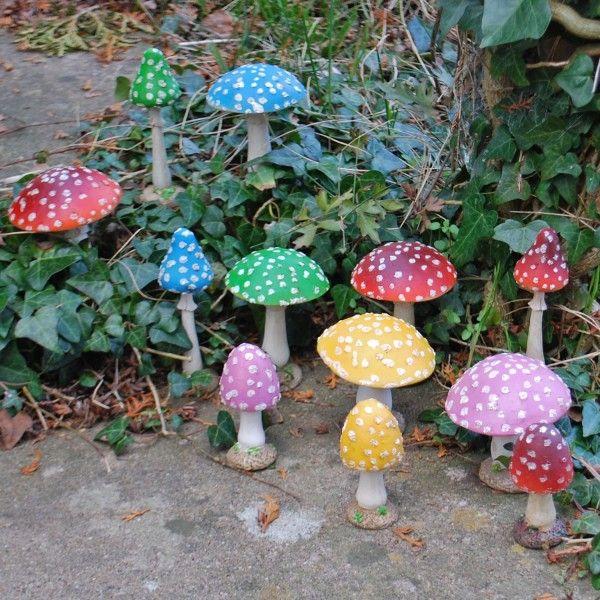 Too Cute! #mushroom #garden #outside #decor #decoration #colorful #autumn