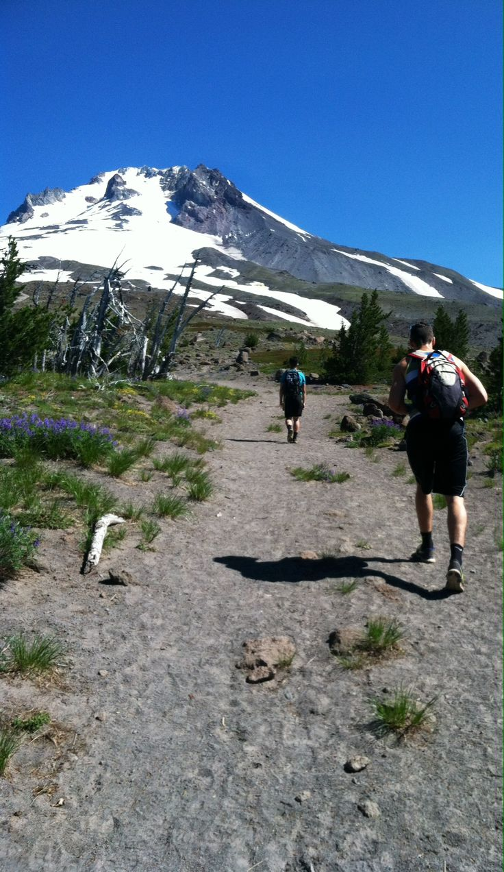 Hiking up mount hood