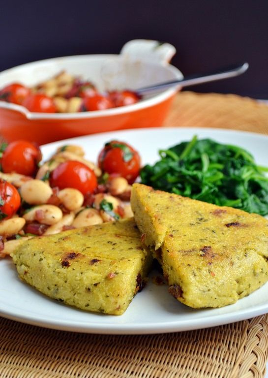Pesto Polenta Triangles, Balsamic White Beans with Cherry Tomatoes + Basil. Vegan.