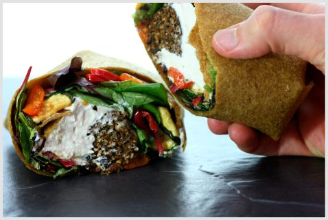 "Falafel and Hummus wrap with Mediterranean ""roasted"" vegetables"