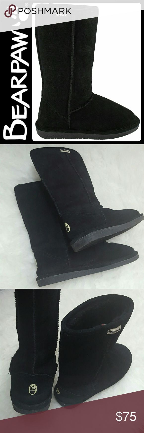 BearPaw Suede Sheepskin Black Boots BearPaw Signature Brand in Classic Black Suede Upper Tall Boots! Features Its Famous Genuine Sheepskin Lining That Keeps Your Feet Warm and Snug All Throughout! Rubber Outsole for Added Grip, Size 8, Used Once,  Like New Condition! Perfect Pair to Compliment Any Wardrobe! BearPaw Shoes Winter & Rain Boots