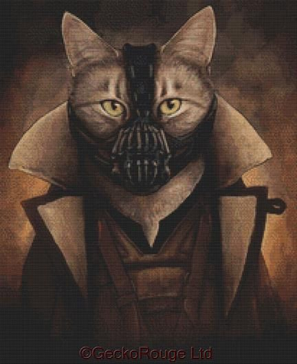 Modern Cross Stitch Kit  Batman Cat  'Bane Kitty' By by GeckoRouge