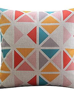 Multi-colored Triangle Cotton/Linen Decorative Pillow Cover – USD $ 14.99