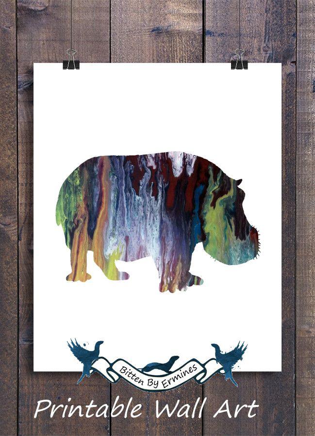 Hippo Wall Art | Printable Wall Art | Hippo Wall Decor | Hippo ...