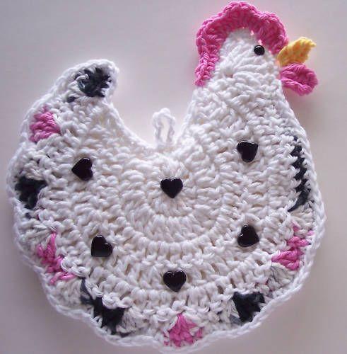 Crocheted Chicken Potholder Made from Cotton Yarn | eBay