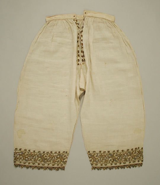16th century, Italt - Trousers - Linen, silk and metal thread