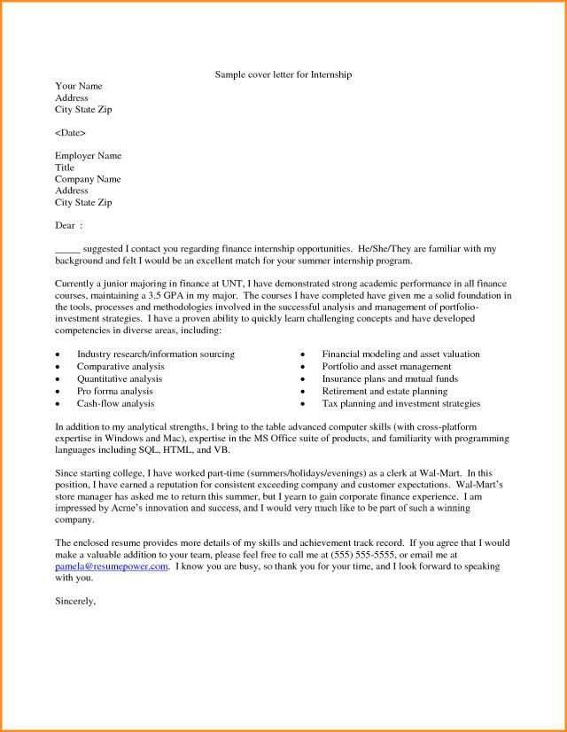 26 Example Of Cover Letter For Internship Example Of Cover Letter
