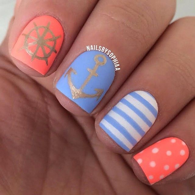 Maritime nails with steering anchor stripes and polk dots