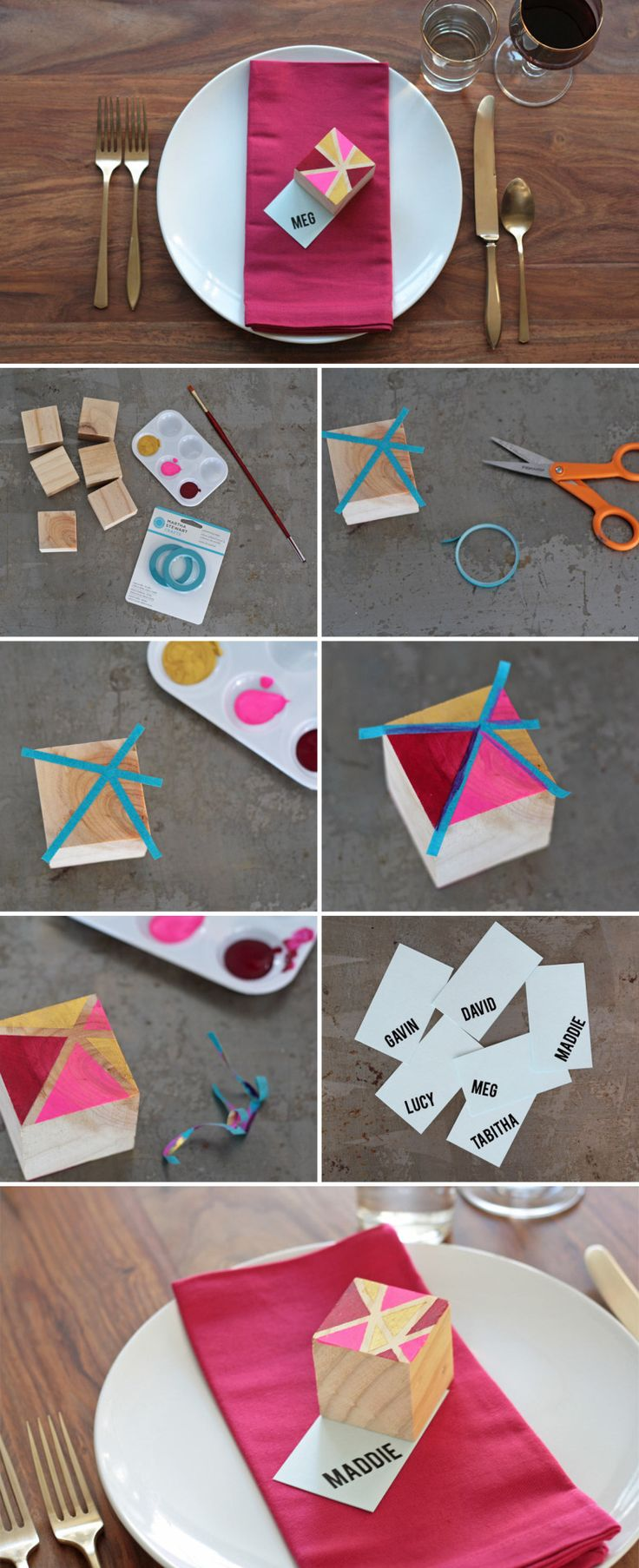 How To DIY Geometric Block Place Card Settings A Practical Wedding: Blog Ideas for the Modern Wedding, Plus Marriage