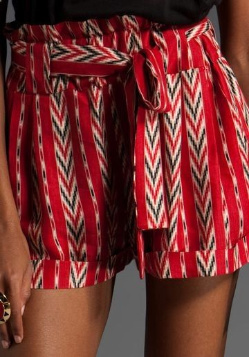 high-waisted shorts with a print.