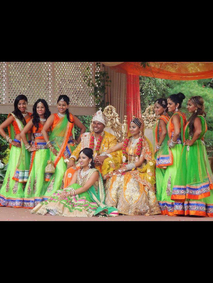 Indian wedding, hindu wedding, bridal lehenga, wedding lehenga, jodha Akbar, royal indian wedding, hindu bride, indian bride, bridesmaids, bridesmaids lehenga, green lehenga, orange lehenga