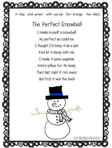 the perfect snowball poem kindergarten poems snow poems. Black Bedroom Furniture Sets. Home Design Ideas