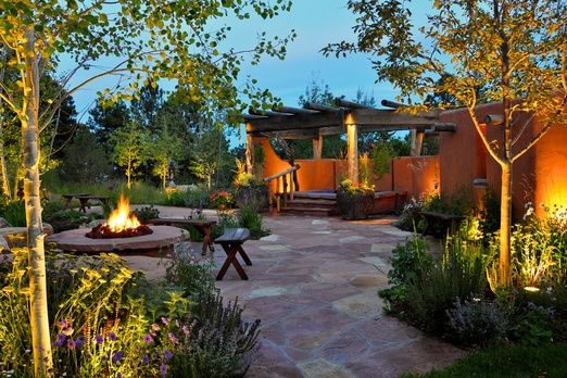 South Western Landscape  Night-lighting, a fire pit, and custom hot tub in the courtyard