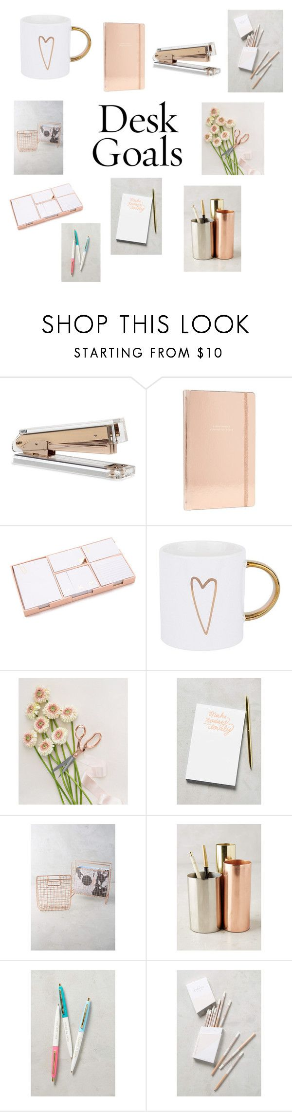 """""""Rose Gold Desk Goals"""" by redenjewelry ❤ liked on Polyvore featuring interior, interiors, interior design, home, home decor, interior decorating, Kate Spade, West   Emory, Moglea and Anthropologie"""