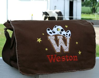 Personalized diaper bag for boy or girl with embroidered cowboy letter