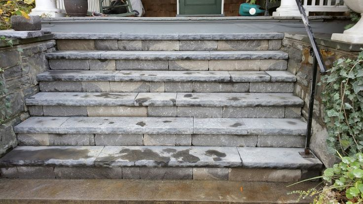 Same steps after they've dried -- Techo Bloc York Caps for step treads and Chapel Stone Wall Blocks for step risers
