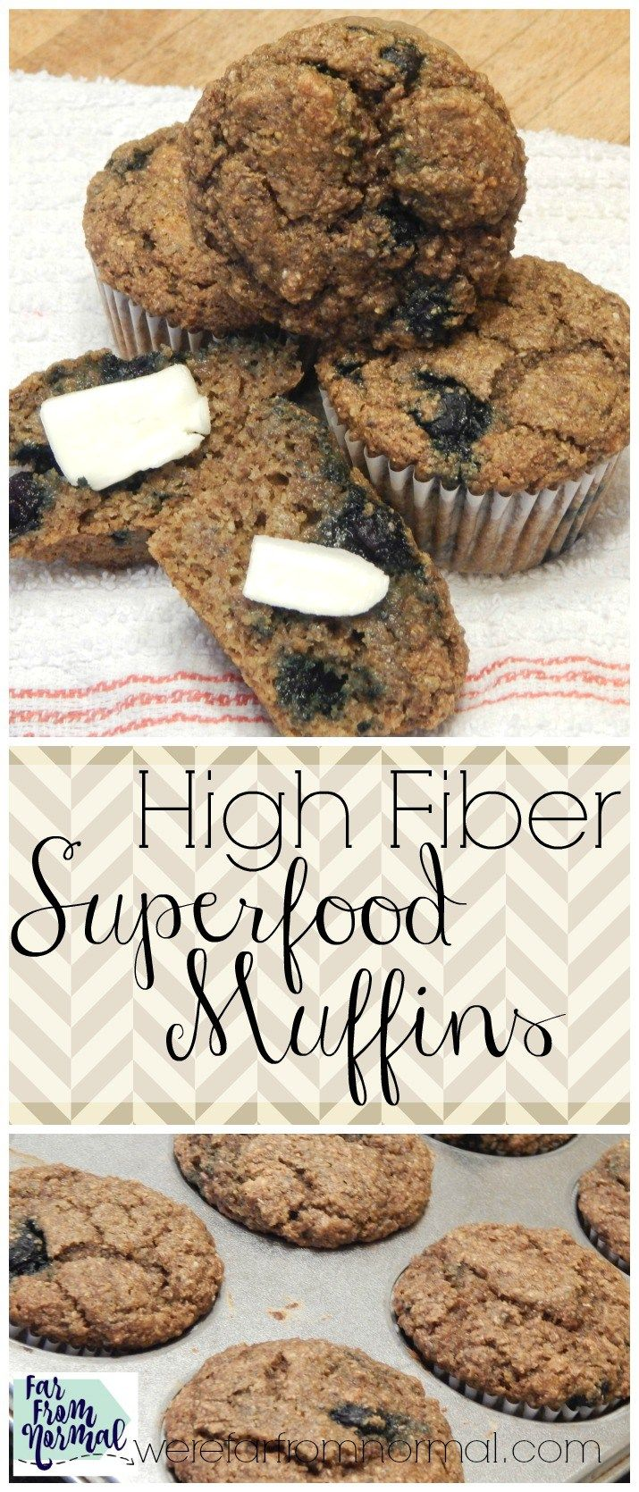 These are not your grandma's bran muffins! Packed with superfoods like blueberries, chia seeds and flax these are as delicious as they are healthy!