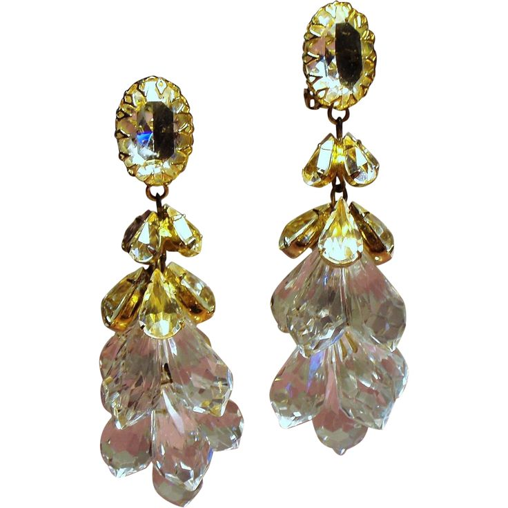 Vintage Unsigned Schreiner Faceted Crystal and Lucite Briolette Shoulder Duster Earrings