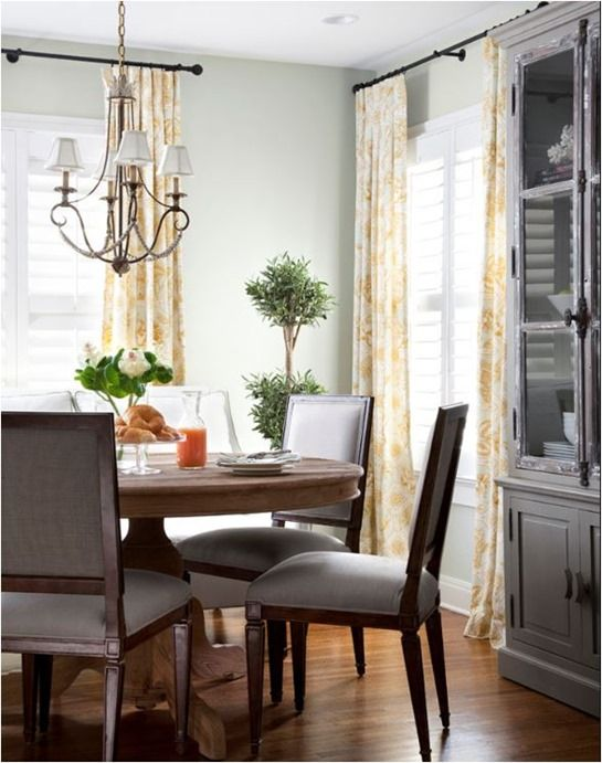 I love these yellow curtains and wall color...ideas for my kitchen
