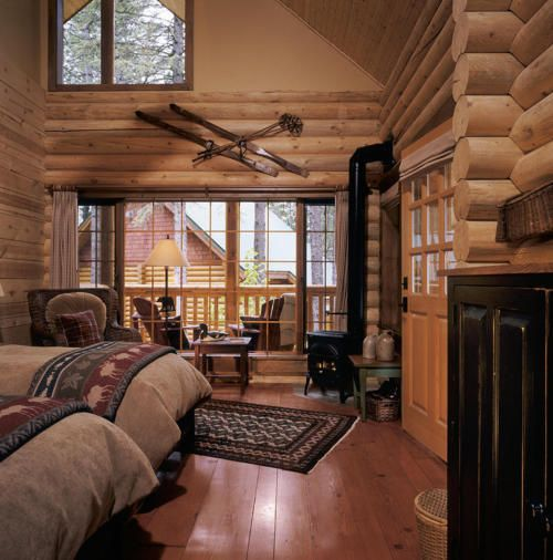 love the cabin feel - Log Cabin Design Ideas