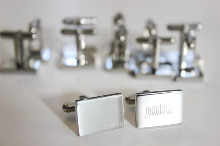 Personalized Jewelry - Have your ACTUAL heartbeat engraved on cufflinks.  Perfect wedding gift! Have a special date or initials engraved on the other cufflink. The cufflinks come in a brilliant stainless steel finish to show your heart shine and that your love will last forever. Design on Everly Design App:  iSO: https://itunes.apple.com/us/app/everly-design/id1165718958?ls=1&mt=8  Android: https://play.google.com/store/apps/details?id=com.app.everlydesigns&hl=en