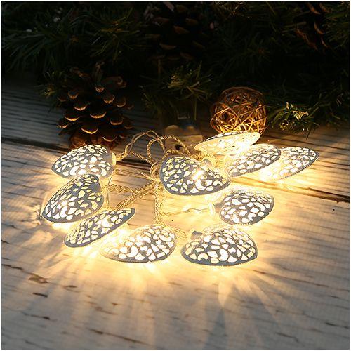 Łańcuch lampionów - lampki LED, białe serca