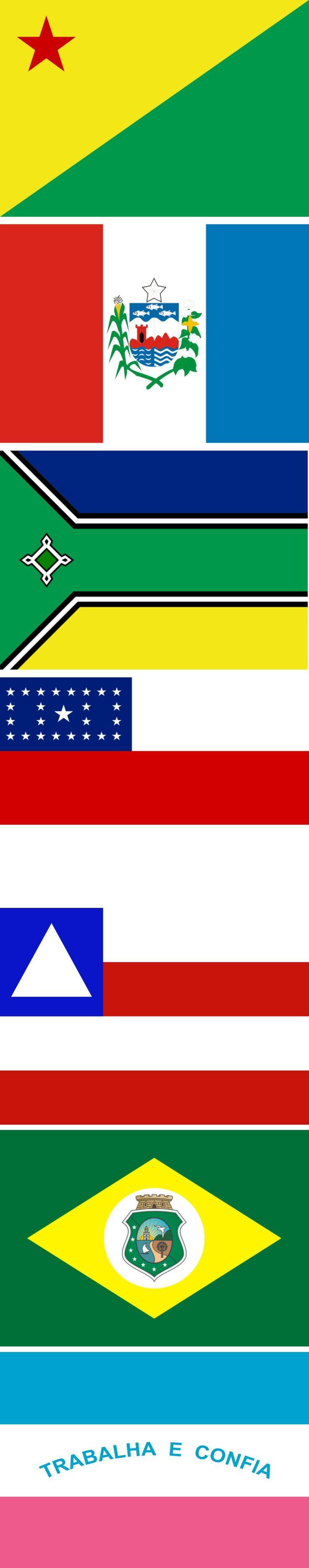 Flags of the states of Brazil: ACRE-ALAGOAS-AMAPÁ-AMAZONAS-BAHIA-CEARÁ-ESPÍRITO SANTO