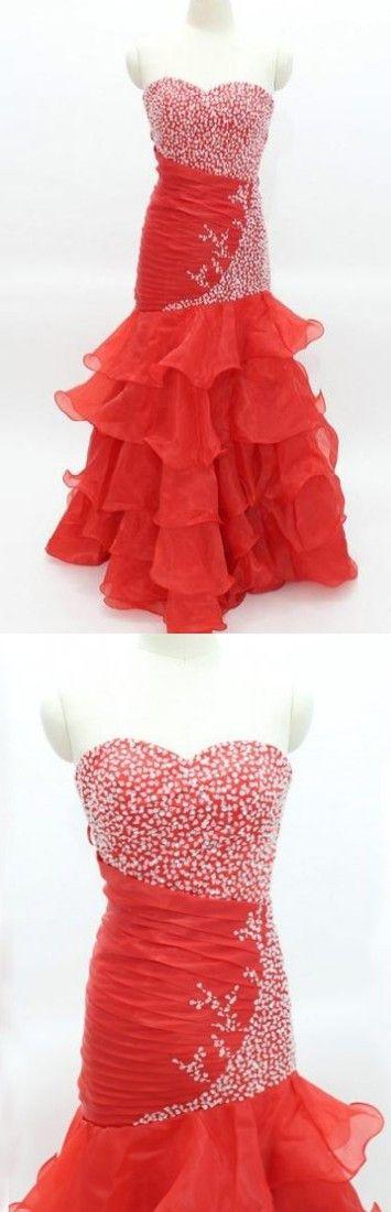Red Long Trumpet/Mermaid Sweetheart Chiffon Prom Dresses 2017