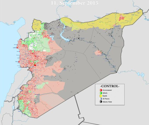 De facto l'Etat Islamique est installé en Etat indépendant entre Syrie et Irak Carte septembre 2015 «Syrian civil war» par Syria location map2.svg: User: