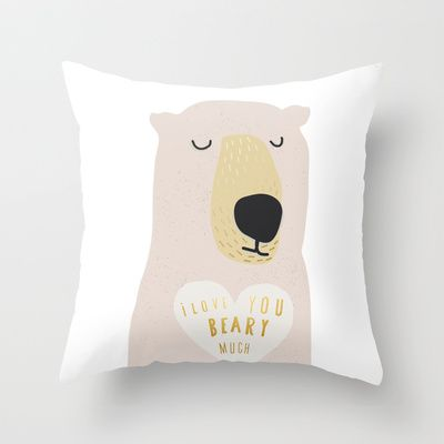 i LOVE YOU BEARY MUCH WITH TEXT Throw Pillow by Sweet Reverie - $20.00