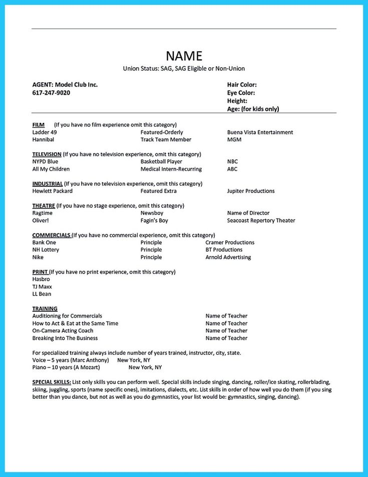 awesome outstanding acting resume sample to get job soon check more at http - Resume Format For Actors