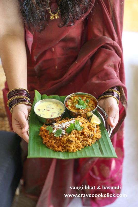 Vangi Bhat, Basundi and Vatana Batata Bhaji Recipe-Gudi Padwa Special