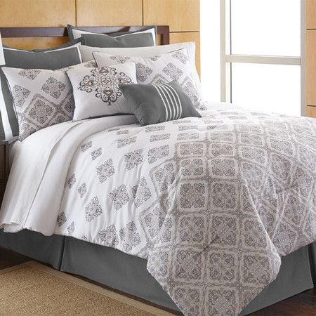 Refresh your master suite or guest room with this cozy 8-piece comforter set, showcasing 2 standard shams, 2 Euro shams, a bed skirt, and 2 decorative pillow...