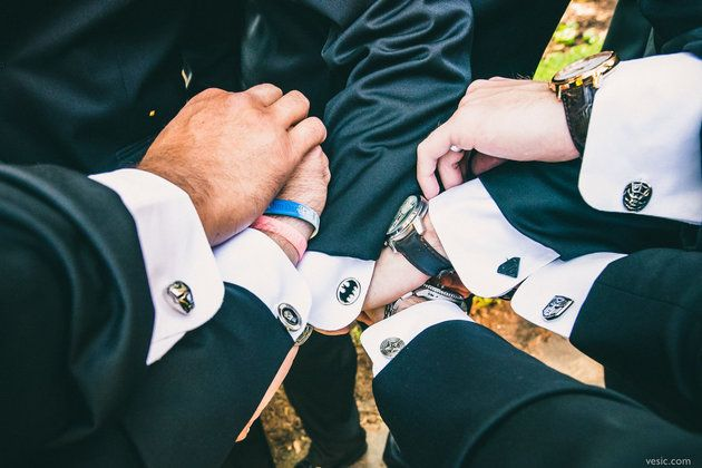 Superhero cufflinks for groomsmen with super powers to match | Vesic Photography
