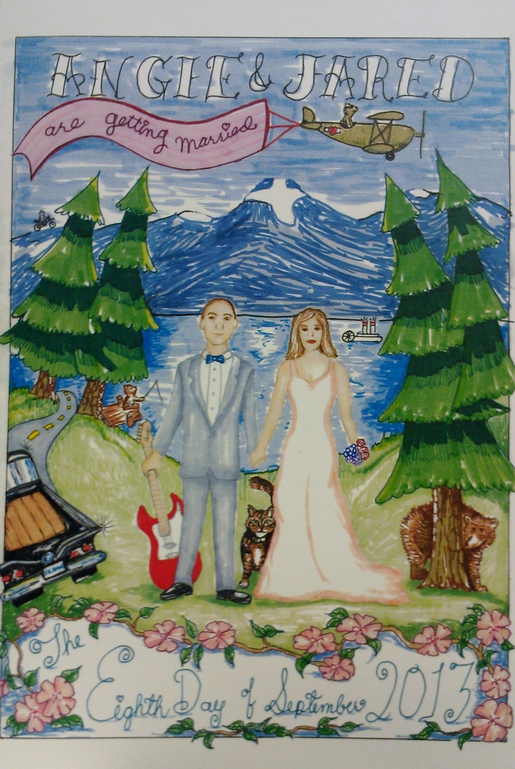 Handmade Drawn Wedding Invitation.