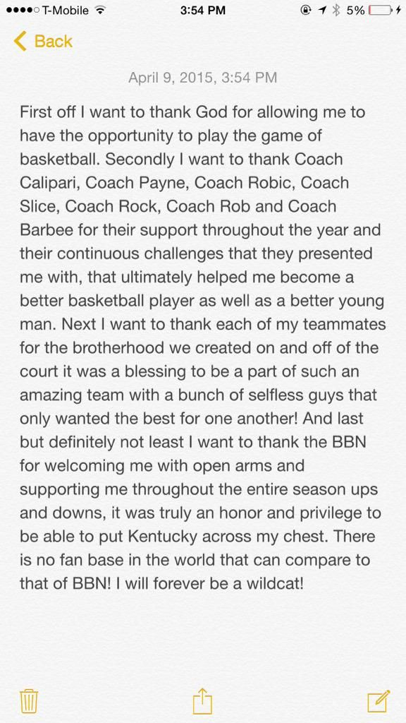Trey's message to the coaches, players and the Big Blue Nation. We are going to miss him but will watch him play for Utah!!!