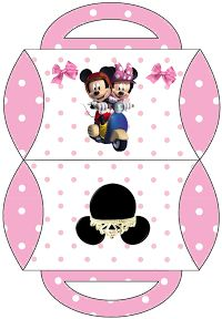 Minnie and Mickey in a Motro Ride: Free Printable Pillow Box.