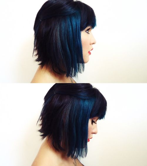 short black hair with dark blue highlights - love love