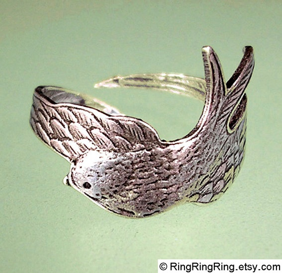 Etsy: Swallows, Birds Wings, Style, Birds Rings, Owl Jewelry, Sterling Silver, Random Stuff, Silver Rings, Sparrow Rings