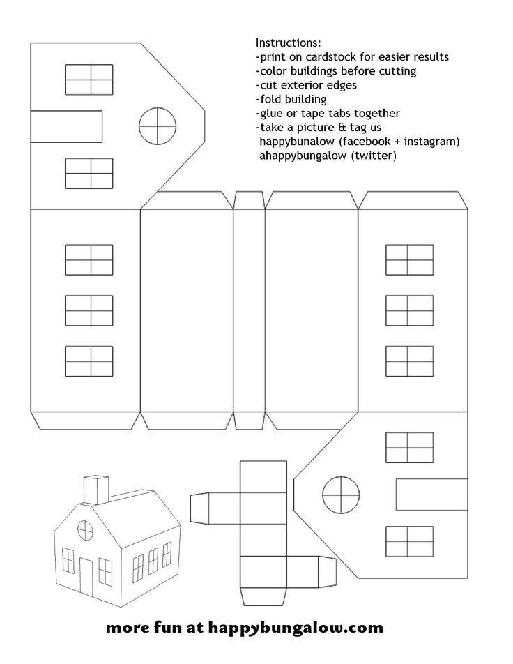 DIY Papier Haus Vorlage glücklich Bungalow DIY Papier Handwerk ...