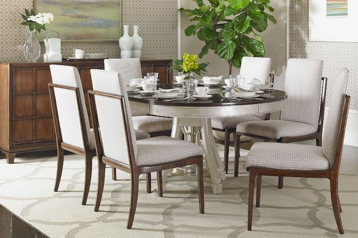 Stanley fairlane 7pc dining room set with oval table and for Stanley furniture dining room sets