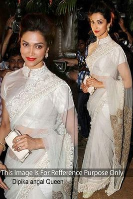 Deepika Padukone Off White Designer Net Saree By Jomso Bollywood Sarees Online on Shimply.com