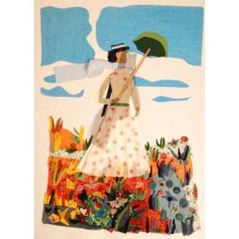 """La sombrilla de Monet"" | Collage textil sobre cartulina | 50x70x2 | 2016  #BABY RUTH #cuadros #moda, #arte #cuadrosmoda #cuadrosarte #modaarte #collage #collagetextil #textil #ruthalvarez #collage #BabyRuthCollage  #técnicamixta #RuthAlvarezartista #ruthalvarezcollagetextil #RuthAlvarezAsturias #nuevastendenciasarte #cuadrostextiles #artetextil #textileart #comprararte #venderarte"
